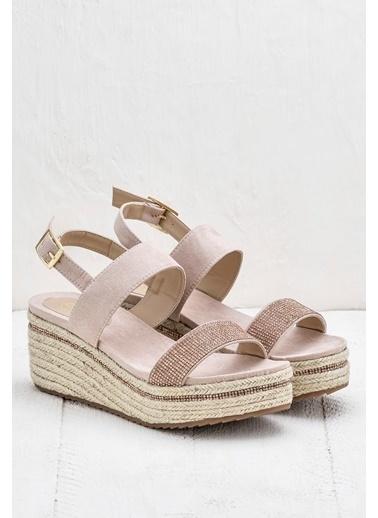 Elle Hasır Sandalet Pudra